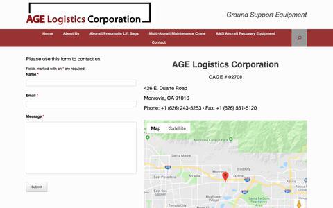 Screenshot of Contact Page agelogistics.com - Contact - AGE Logistics Corporation - captured Oct. 2, 2018