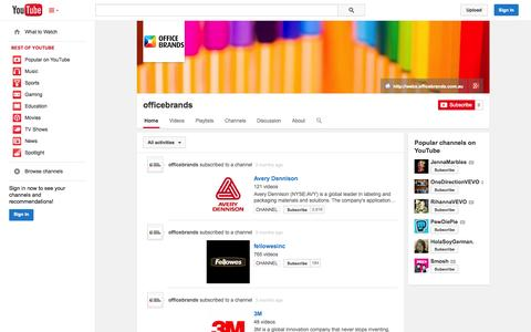 Screenshot of YouTube Page youtube.com - officebrands  - YouTube - captured Oct. 27, 2014