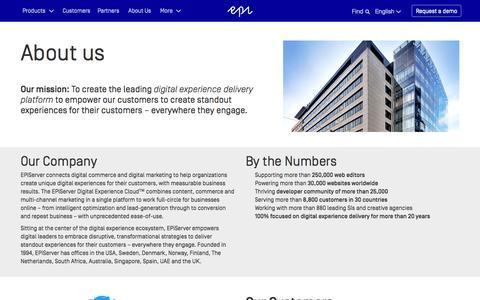 Screenshot of About Page episerver.com - About Us - EPiServer - captured Nov. 9, 2015