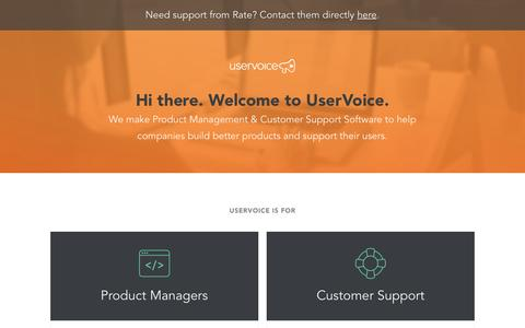 Screenshot of Landing Page uservoice.com - Powered By UserVoice - captured July 2, 2016