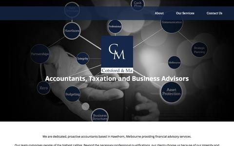 Screenshot of Home Page cotsfordandma.com.au - Accountants, Taxation and Business Advisors Hawthorn, Melbourne | Cotsford and Ma - captured May 22, 2017