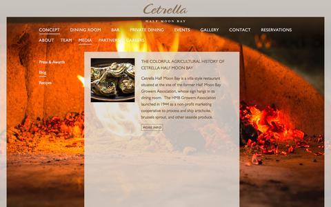Screenshot of Blog cetrella.com - Cetrella Half Moon Bay | California Coastal Cuisine | Blog - captured Nov. 3, 2016