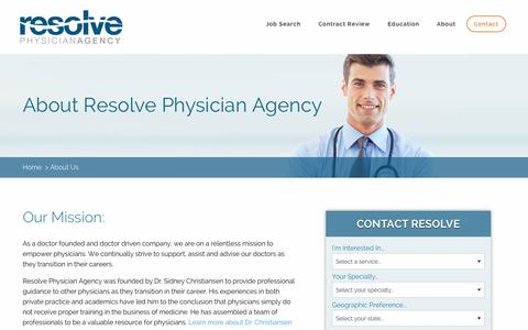 Screenshot of About Page resolvephysicianagency.com - Learn About Resolve Physician Agency - captured Jan. 17, 2016