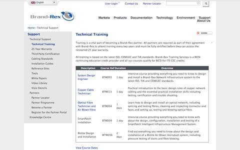 Screenshot of Support Page brand-rex.com - Technical Training | Brand-Rex Ltd. - captured Oct. 29, 2014