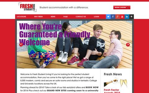 Screenshot of Home Page freshstudentliving.co.uk - Student Accommodation from Fresh Student Living - captured Jan. 8, 2016