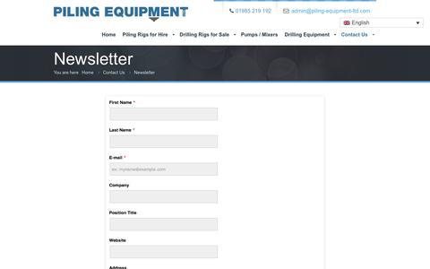 Screenshot of Signup Page piling-equipment-ltd.com - Newsletter Signup | Piling Equipment Ltd - captured May 17, 2017