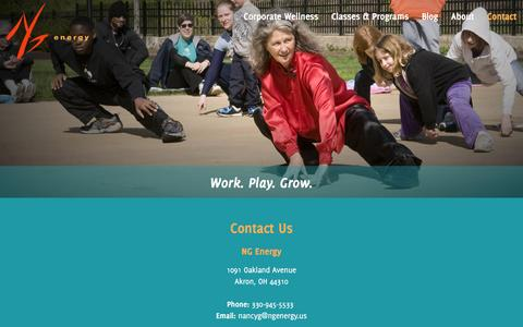 Screenshot of Contact Page ngenergy.us - Tai Chi - NG Energy - Akron, Ohio - captured April 13, 2016