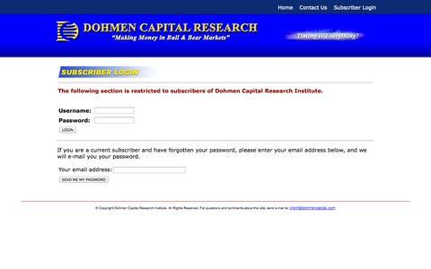 Screenshot of Login Page dohmencapital.com - Dohmen Capital Research Institute - captured Sept. 30, 2014