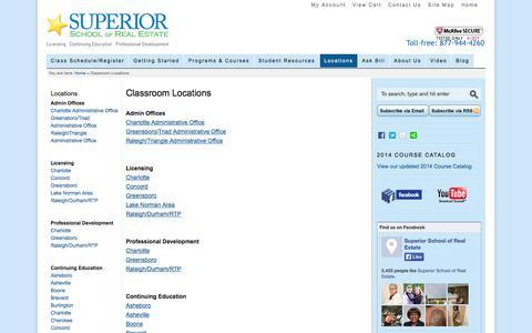 Screenshot of Locations Page superiorschoolnc.com - Classroom Locations - captured Oct. 7, 2014