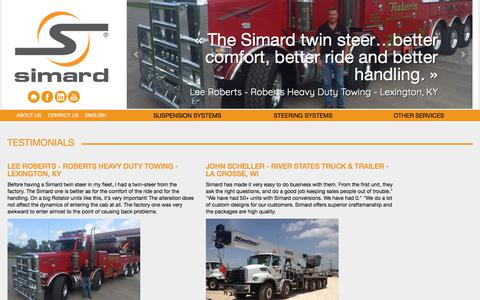 Screenshot of Testimonials Page simardsuspensions.com - Testimonials about our suspension systems | Simard - captured Oct. 21, 2017