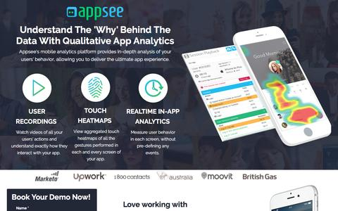 Screenshot of Landing Page appsee.com - Appsee - Leading Mobile App Analytics with user recordings and touch heatmaps - captured Dec. 14, 2016