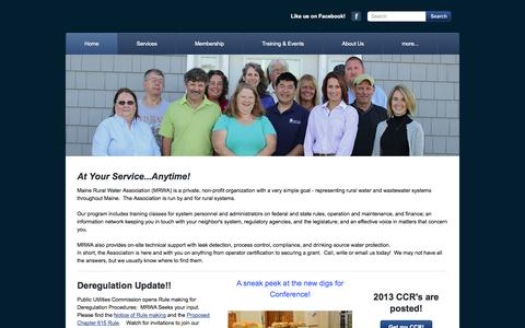 Screenshot of Home Page mainerwa.org - Maine Rural Water Association, Richmond, ME - Home - captured Oct. 3, 2014