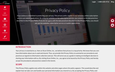 Screenshot of Privacy Page iscanonline.com - Privacy Policy | iScan Online - captured Feb. 11, 2016