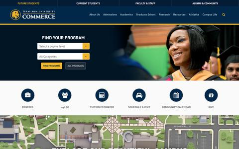 Screenshot of Home Page tamuc.edu - Texas A&M University-Commerce - captured Oct. 18, 2018