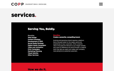 Screenshot of Services Page coppcomm.ca - Marketing and Design Services   COPP Marketing + Design - captured Aug. 15, 2019