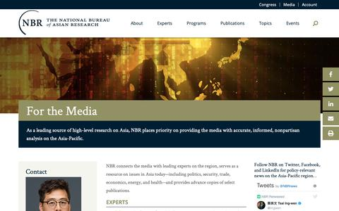 Screenshot of Press Page nbr.org - For Media - The National Bureau of Asian Research (NBR) - captured Oct. 31, 2018