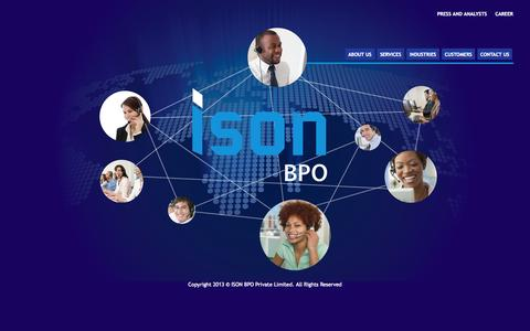 Screenshot of Home Page isonbpo.com - ISON BPO - captured Oct. 4, 2014