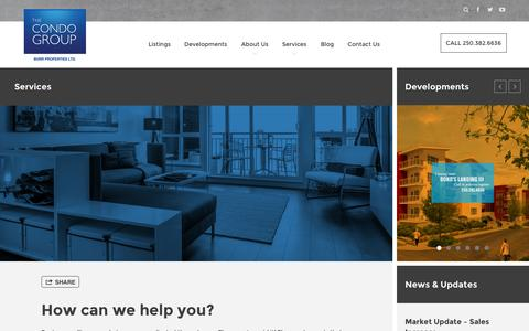 Screenshot of Services Page thecondogroup.com - The Condo Group - captured Oct. 1, 2014