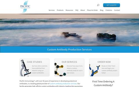 Screenshot of Home Page pacificimmunology.com - Custom Antibody Production Services - captured Jan. 16, 2015