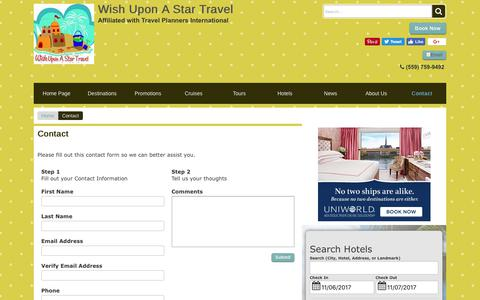 Screenshot of Contact Page wishuponastartravel.com - Contact | Wish Upon A Star Travel - captured Nov. 7, 2017
