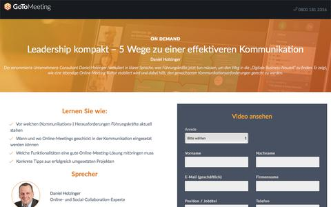 Screenshot of Landing Page gotomeeting.com - Leadership kompakt – 5 Wege zu einer effektiveren Kommunikation - captured April 14, 2018