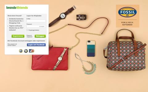 Screenshot of Home Page brands4friends.de - Günstige Markenkleidung im Online Shopping Club bei brands4friends - brands4friends.de - captured Sept. 13, 2014