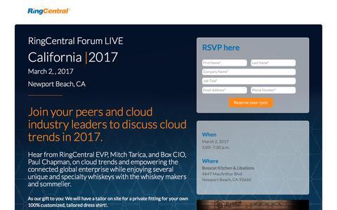 Screenshot of Landing Page ringcentral.com - RingCentral Forum LIVE Newport Beach - captured April 13, 2017