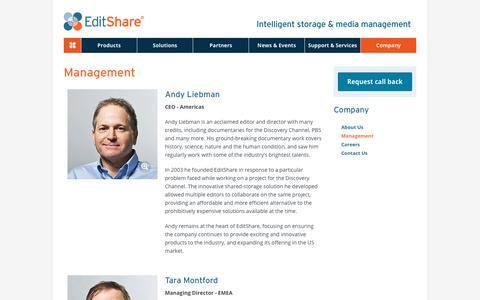 Screenshot of Team Page editshare.com - Management - EditShare - captured July 16, 2018