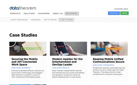 Screenshot of Case Studies Page datatheorem.com - Read Case Studies from Top Security Teams across Industries - captured Oct. 10, 2019