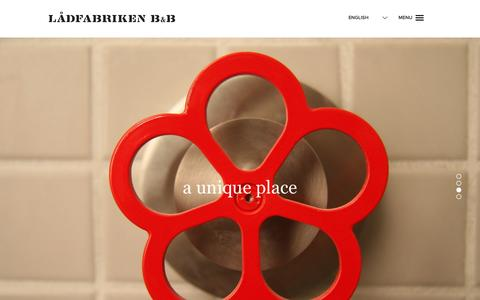 Screenshot of Home Page ladfabriken.eu - Lådfabriken B&B - captured Jan. 22, 2016