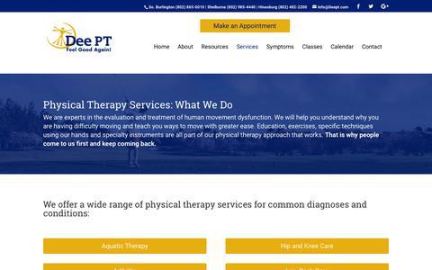 Screenshot of Services Page deept.com - Services - DeePT - captured Oct. 8, 2018