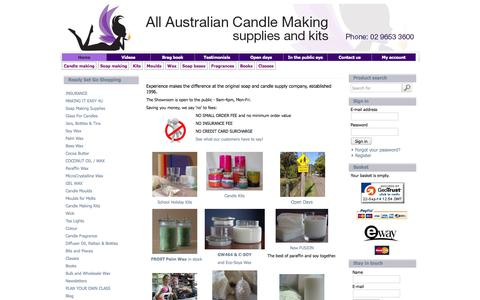 Screenshot of Site Map Page candlemaking.com.au - All Australian Candle Making - Candle & Soap Making Supplies | Kits & Books | Wax & Moulds | ...ready set glow! - captured Sept. 23, 2014