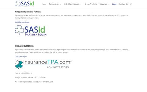 Broker, Affinity, or Carrier Login to BOS (Back Office System)    SASid = Smart and Simple insurance development