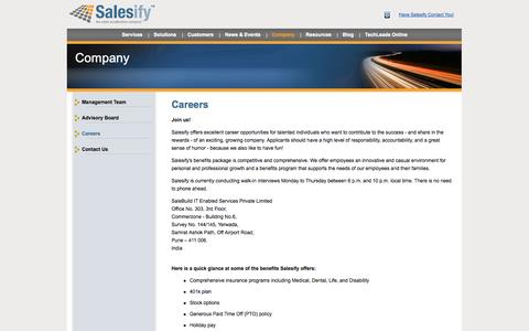 Screenshot of Jobs Page salesify.com - Salesify | Telesales Careers - captured Sept. 22, 2014