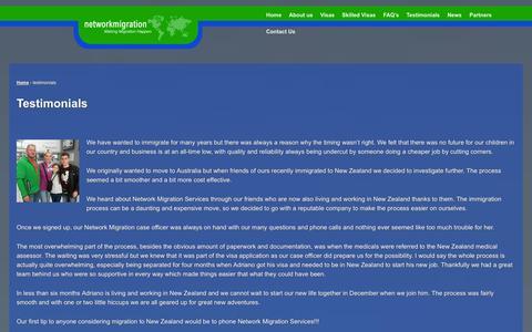 Screenshot of Testimonials Page networkmigration.co.za - testimonials - network migration - captured Nov. 5, 2014