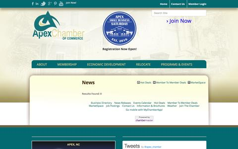 Screenshot of Press Page apexchamber.com - News - Apex Chamber of Commerce, NC - captured Nov. 21, 2016