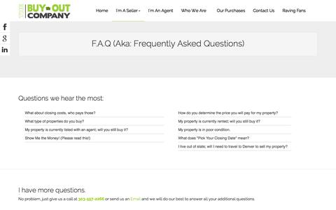Screenshot of FAQ Page thebuyoutcompany.com - F.A.Q - captured Oct. 9, 2014