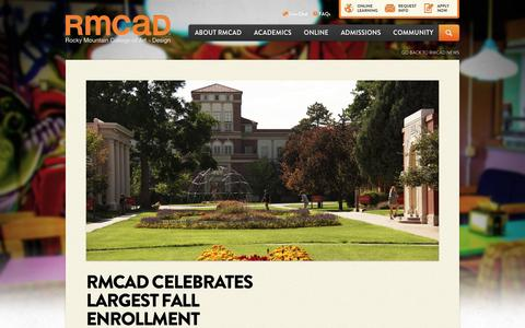 Screenshot of rmcad.edu - RMCAD Celebrates Largest Fall Enrollment - captured Aug. 19, 2016