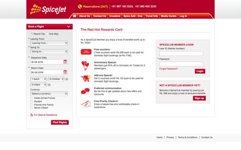 Screenshot of Login Page spicejet.com - Cheap Air Tickets Online, International Flights to India, Cheap International Flight Deals   SpiceJet Airlines - captured Aug. 19, 2016