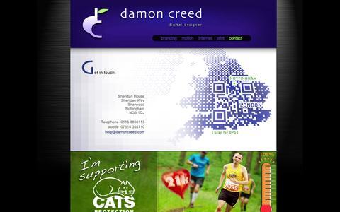 Screenshot of Contact Page damoncreed.com - digital | motion | web design | print - captured Oct. 6, 2014