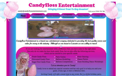 Screenshot of Home Page Privacy Page candyflossentertainment.com - Candyfloss Entertainment -  Home - captured Sept. 27, 2014