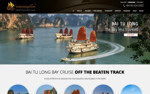 Screenshot of Home Page indochina-junk.com - Indochina Junk - Halong Bay Luxury Cruises - captured Sept. 30, 2014