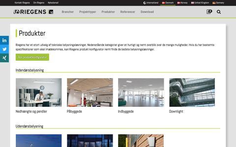 Screenshot of Products Page riegens.com - Produkter | Riegens - captured Jan. 24, 2017