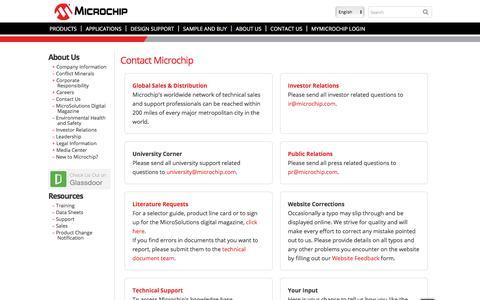 Screenshot of Contact Page microchip.com - Contact Us | Microchip Technology Inc. | Microchip Technology Inc. - captured Dec. 16, 2017