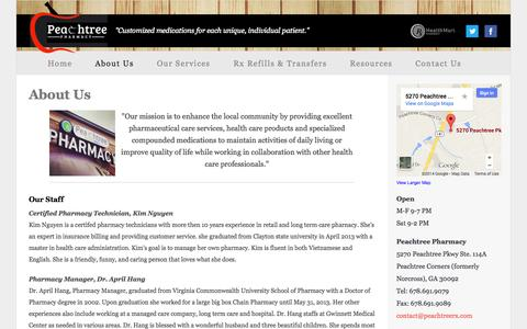 Screenshot of About Page peachtreerx.com - PeachtreeRx - captured Oct. 2, 2014