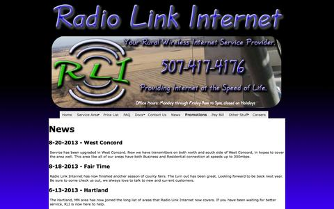 Screenshot of Press Page radiolinkinternet.com - RLI - Radio Link Internet, WISP - captured Oct. 27, 2014