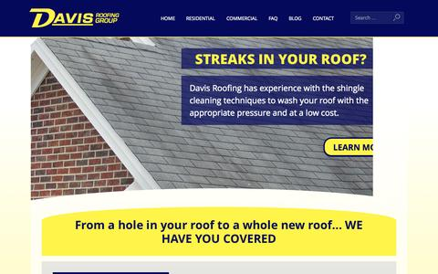 Screenshot of Home Page davisroofinggroup.com - Home Page - Davis Roofing - captured Oct. 5, 2014