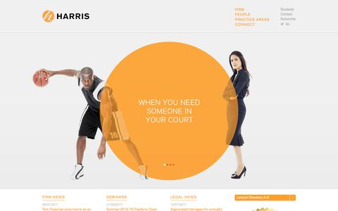Screenshot of Home Page harrisco.com - Harris | Workplace Law & Advocacy - captured July 17, 2017