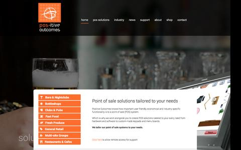 Screenshot of Home Page positive-outcomes.com.au - Point of Sale Hardware and Software solutions | Positive Outcomes - captured Sept. 30, 2014