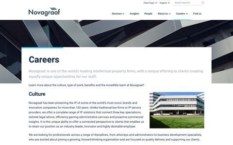 Screenshot of Jobs Page novagraaf.com - Careers | Novagraaf - captured Sept. 19, 2019